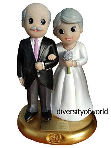 diversityofworld Figura Bodas de Oro con Placa GRABADA con el Texto Que Indiques y Dibujo Corazón (Opcional)