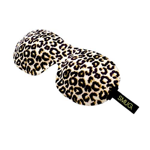 SMUG 100% Blackout Sleep Mask | Eyelash Friendly Eye Mask | Sleep Cover for Men & Women | Contoured Design for Deep Sleeping | Adjustable Velcro Straps | Sleeping Mask Blindfold | Animal Print