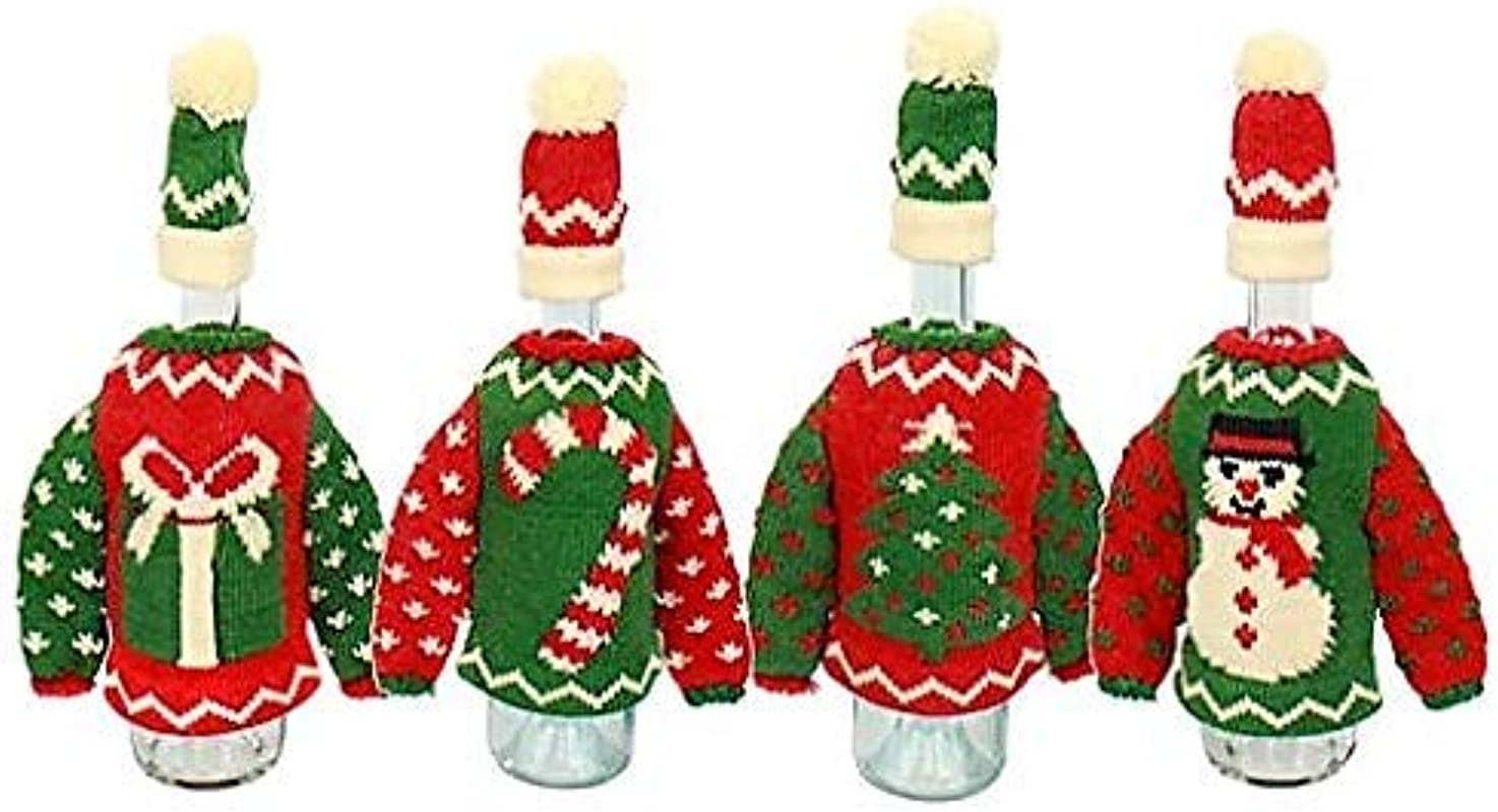 Ugly Christmas Sweater Wine Bottle Cover W Santa Hat Bottle Topper Set Of 2 Christmas Wine Bottle Gift Giving Idea