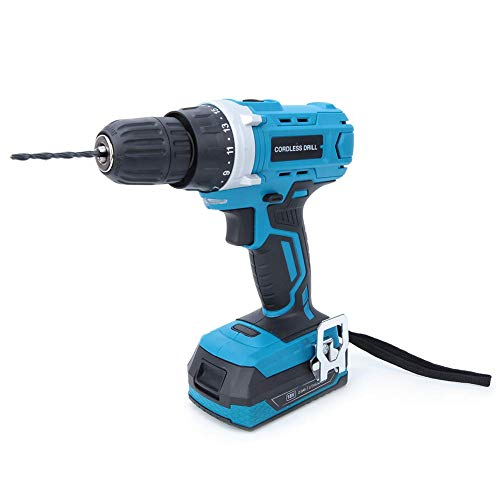 WY-YAN HZR 18V Cordless Drill Driver, Impact Cordless Drill Set Electric Lithium Cordless Drill Professional Handheld Tool with 2.0Ah Lithium Battery UK Plug 100-240V