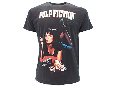 Pulp Fiction Original Wallace Uma Thurman Quentin Tarantino Miramax Trikot schwarz mit Etikett und Originalitätsetikett T-Shirt (XXS (9-11 Jahre))