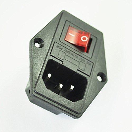 SODIAL(R) 3 Pin IEC320 C14 Eingangsmodul Stecksicherung Schalter maennlichen Steckdose 10A 250V