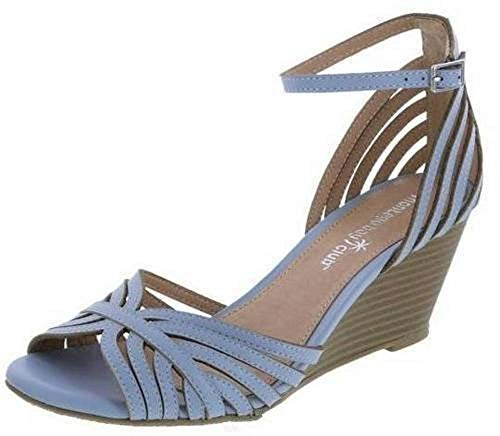 Montego Bay Club Womens Prima Strappy Wedge Sling Sandals Heels Shoes (12, Blue)