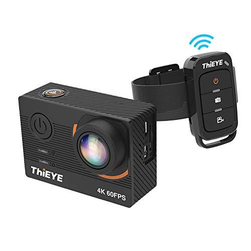 ThiEYE T5 Pro 4K / 60FPS - Action Camera sportiva 20MP con schermo LCD da 2', zoom digitale 8x, grandangolo 170°, supporto per obiettivo grandangolare da 60 metri, impermeabile, colore: Nero