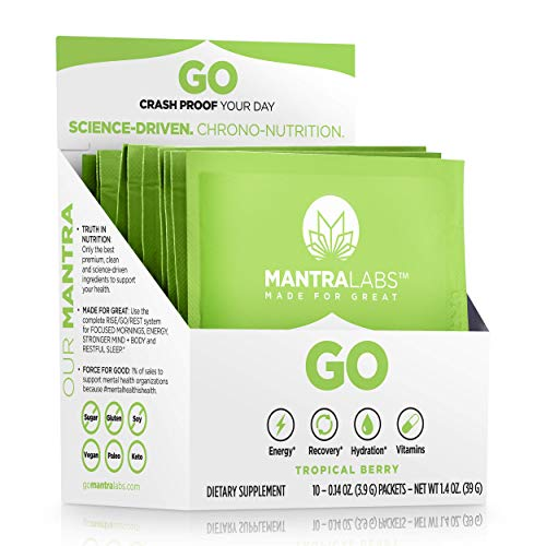 Go Energy Drink Powder by MANTRA Labs - Pre Workout Hydration Powder Packets with Vitamins and Electrolyte Supplements for Energy and Recovery, Keto and Paleo Diet* (Tropical Berry - 10 Pk)