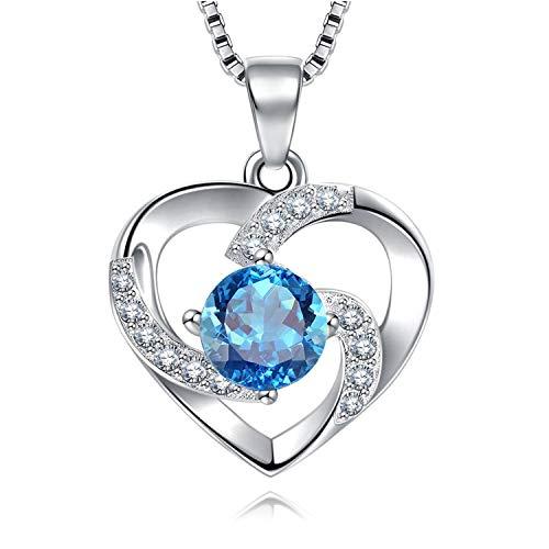 EVERU Collar Mujer, Amor Corazon Colgante, Plata de Ley 925 Brillante Circonita Regalos Originales, Cadena 45cm Longitud con Hermosa Caja Regalo (Azul)
