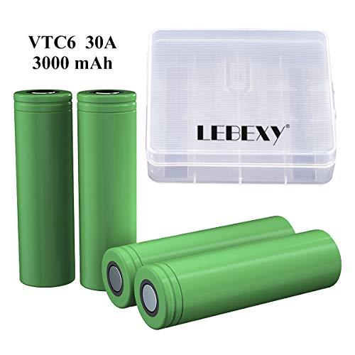 LEBEXY VTC6 Akku 4X US 18660 VTC6 Akkus INR für E-Zigarette Accu batterien (3000mAh/3,7V/30A)