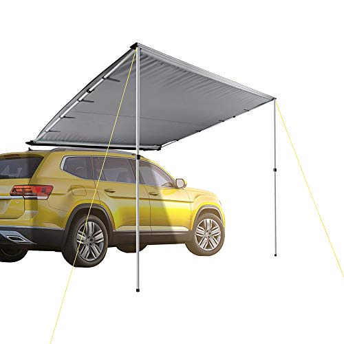 Yescom 7.6'x8.2' Car Side Awning Rooftop Pull Out Tent Shelter PU2000mm UV50+ Shade SUV Outdoor Camping Travel Grey