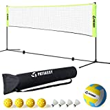 Patiassy Portable Volleyball Badminton Net Set - 17ft Indoor Outdoor Adjustable Height Net with Poles, 4 Shuttlecocks, 4 Pickleballs and 1 Volleyball for Backyards Beach