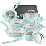 Rachael Ray Create Delicious Nonstick Cookware Pots and Pans Set, 13 Piece, Light Blue Shimmer