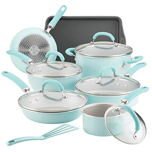 top rated Rachel Ray 13 Pieces of Blue Lame Creates Delicious Anti-Scorching Pots and Pans 2020
