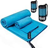 Sumille Quick Dry Travel Towel, 2 Sizes Microfiber Lightweight Pocket Towel Set for Camping Sports Backpacking Hiking Fitness Beach Yoga