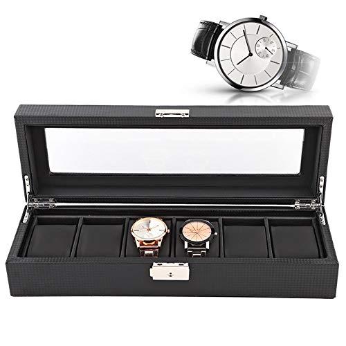 6 horloges doos, horlogekast met 6 vakjes watch box reis carbon fiber case sieraden display collector organizer (35 * 12 * 8 cm)