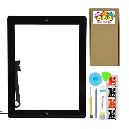 XIAO MO GU Black Touch Screen Outer Glass Digitizer Panel for iPad 4 (4th Generation) with Home Button Flex Cable Assembly + Midframe Bezel + Adhesive Tape + Tool Kit