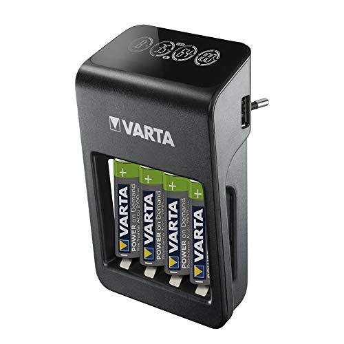 Ładowarka Plug Charger+ VARTA Power on Demand LCD + do akumulatorków AA/AAA/9 V i urządzeń USB, ładowanie w pojedynczym slocie, wraz z 4 akumulatorkami AA Mignon 2100 mAh