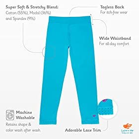 Lucky & Me | Jada Girls Leggings | Tagless | Full Length, Lace Trim, Wide Waistband | 3-Pack