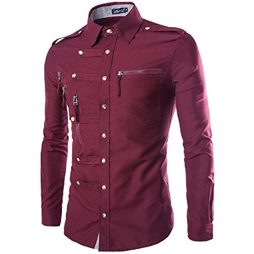 SportsX Mens Casual Zipper Court Style Silm Fit Epaulet Long-Sleeve Shirts Wine Red M