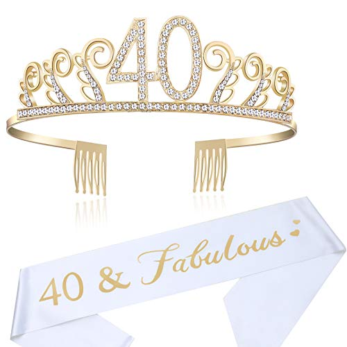 Coucoland Geburtstag Krone mit Geburtstag Schärpe Satin Birthday Crown and Sash Set Geburtstagsdeko Geschenk für Damen Geburtstag Party Accessoires (40 Jahre alt - Gold)