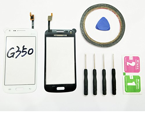 JRLinco per Samsung Galaxy Core Plus G3500G350G3502 schermo di vetro, parte di ricambio display touchscreen(Nessun LCD) per bianco+Attrezzi & Bi-Adesivo + pacchetto pulizia con alcool e asciugatura