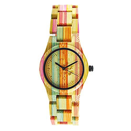 N\C Reloj de Pulsera de Madera de Bambú Hecho a Mano Colorido Artesanal del Cuarzo del Bewell - # 1