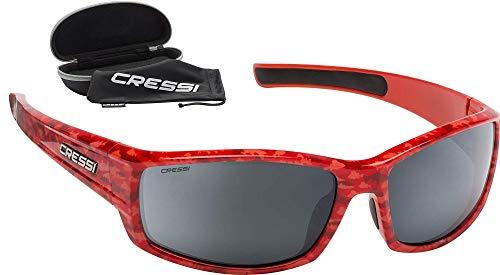 Cressi Hunter Sunglasses Gafas de Sol Deportivo, Adultos Unisex, Rojo Camuflaje/Lentes Espejadas Plata, Talla única