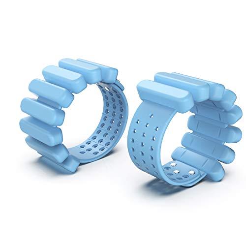 TOSAMC Gewichtsmanschetten, tragbar, Silikon, für Handgelenk, Arme, Beine, für Fitness, Training, Walking, Joggen, Gymnastik, Aerobic, Yoga, Fitnessstudio, je 0,7 kg, 2-teiliges Set (Blau 3,0, 1,4 kg)