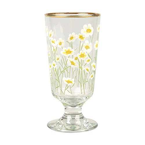 Gold Rim Glass Cup, 300ml Daisy Flowers Decal Highball Glass Crystal Glass,Elegant Drinking Glass for Mixed Drinks, Water, Juice, beer, Cocktail (A)
