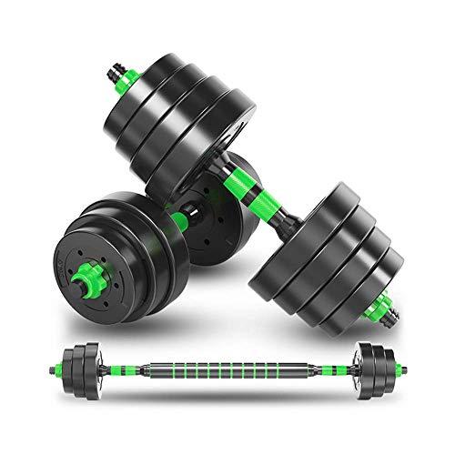 novumtechs Juego de mancuernas de 40 kg, juego de pesas todo en uno ajustable, par de pesas para gimnasio en casa con placas de vinilo y barra con collares de cambio rápido