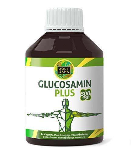 Glucosamin Plus -Aquisana + Colágeno + Condroitina + MSM   Suplemento para la salud de las articulaciones   Huesos Sanos y Cartílagos  Libre de Alergenos -Glucosamina Liquida 500 ml