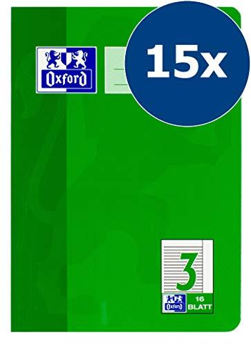 Oxford Schule Schulheft A5, liniert, Lineatur 3R, 16 Blatt, grün, 15er Pack
