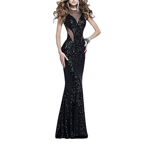 Dolamen Mujer Vestidos, Cuello redondo Vintage y estilo retro, adelgace el vestido sin mangas largo maxi del coctel del ajuste, perfecto para el partido y la boda (Large, Negro)