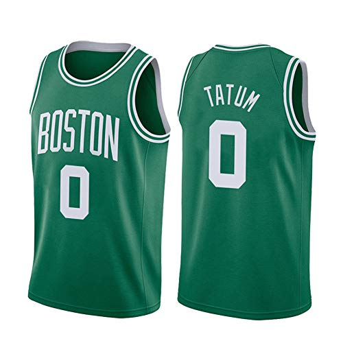 CLKI #0 Celtics Tatum Men's Basketball Jerseys,Quick-Drying Breathable Sportswear, Youth Fashion Training Suit Vest and Shorts(S-2XL) Green B-S