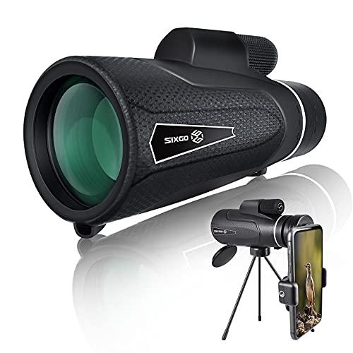 Monocular Starscope Telescopio SIXGO 12 x 50 HD Monocular Telescope Teléfono Móvil con Trípode Portátil FMC BAK4 Resistente al agua para fotografías, juego de pelotas, conciertos, viajes, escalada