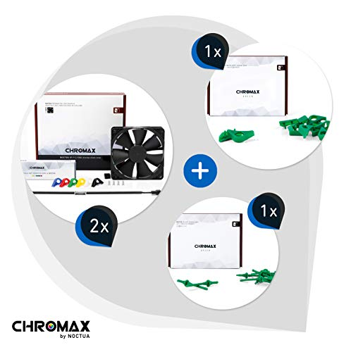 Noctua chromax Paquete Verde: 2x NF-F12 PWM chromax.black.swap, Ventilador 4 Pines (120mm) + NA-SAVP1 / NA-SAV2 chromax.green