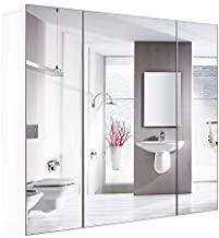 HOMFA Bathroom Wall Mirror Cabinet, 27.6 X 23.6 Inch Multipurpose Storage Organizer Medicine Cabinet Space Saver with 3 Do...