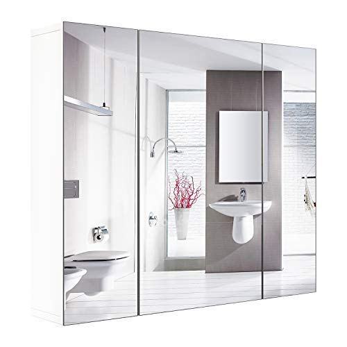 HOMFA Bathroom Wall Mirror Cabinet, 27.6 inches Multipurpose Storage Organizer Medicine Cabinet Space Saver with 3 Doors Adjustable Shelf Kitchen Cupboard, White
