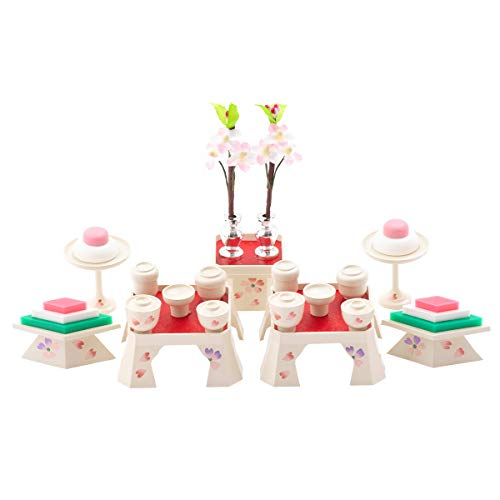 (赤ちゃんまーけっと) 雛人形 ひな人形 小道具 ミニ 15号(並)お膳揃い アイボリー パステルカラー 菱餅 三宝 高杯 御膳 7点セット