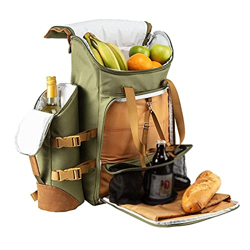 TAHUAON - Zaino da picnic isolato, borsa termica da campeggio, set con bicchieri da vino, sale e pepe, 25 l, colore: Verde
