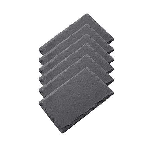 HANHAN 6 rechteckige Teller aus schwarzem Schiefer, Antipasta-Platte aus Naturstein, Schieferplatte für Käse, Aperitiv, Sushi und mehr (15 x 10 cm)