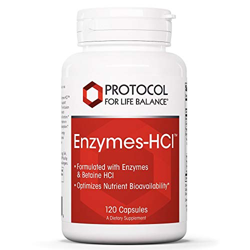 Protocol For Life Balance - Enzymes-HCl - Promotes Digestive Health, Formulated with Enzymes and Betaine HCI to Optimize Nutrient Bioavailability and Digestive Function - 120 Capsules