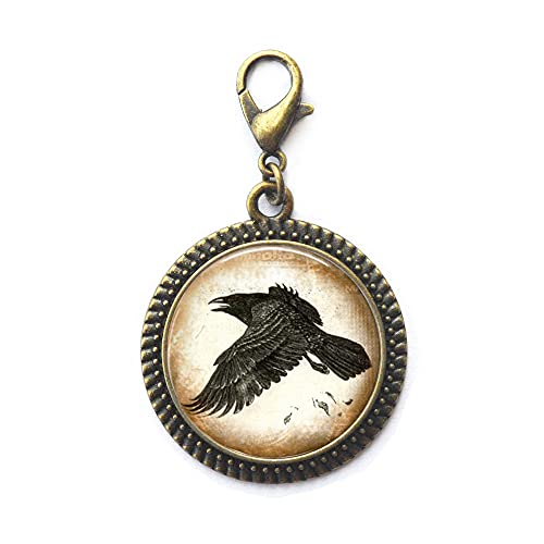Hermoso pájaro, joyería de cuervo, cuervo cuervo, cierre de langosta de cuervo, regalo para ella Edgar Allen Poe Raven, cierre de langosta de cuervo con cierre de cremallera de pájaro, JV302
