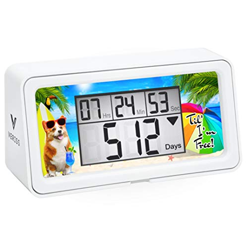VERISS Retirement Countdown Timer up to 9999 Days with Backlight - Count Down Your Retirement, Vacation and All of The Big Events and Dates in Your Life - Dog Collection (White - 3 Frames)