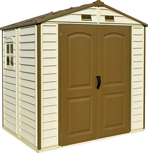 BillyOh 8x6 StoreAll Apex Plastic Garden Storage shed with Foundation Kit and Shatterproof Window, Easy Assembly, Ivory, Includes, Strong Metal Structure & Maintenance Free, Durable Vinyl Panels.
