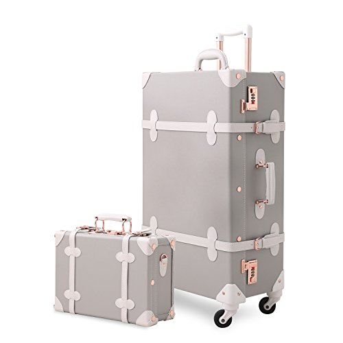 Unitravel Vintage Suitcase Set 20 inch Carry on Spinner Luggage with 12 inch Train Bag for Women (Light Gray)