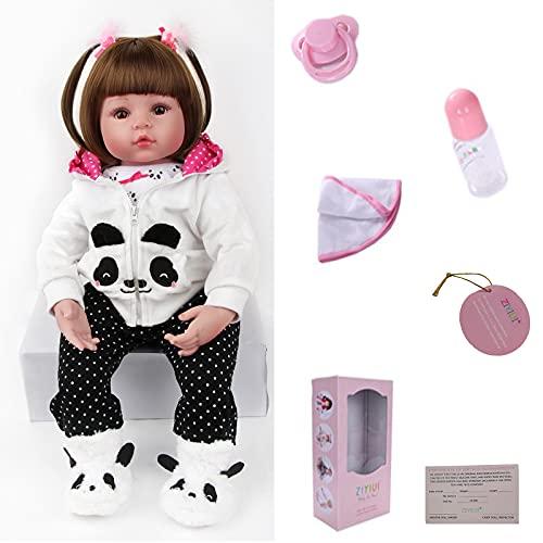 ZIYIUI Réaliste 24 Pouces 60cm Reborn Poupée Bébé en Doux Reborn en Silicone Bébé Vinyle Poupee Reborn Fille Doll Fait Main Bebe Reborn Cadeau de Noel Jouet