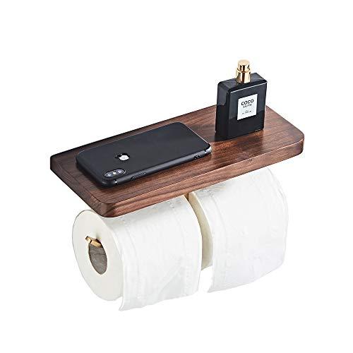 Leekayer toilettenpapierhalter mit ablage edelstahl Toilettenpapierhalterung Retro Wandmontierte Hölzerne Lagerung Regal Aufhänger mit Holz Regal 28 cm