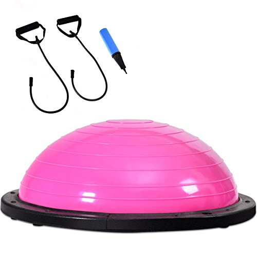 COSTWAY Equilibrio Balance Semiesfera Trainer Pelota de Gimnasia Pilates Yoga Ball (Rosa)