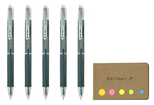 Pilot Hi-Tec-C SlimKnock 04 Retractable Gel Ink Pen, Ultra Fine Point 0.4mm, Black Ink, 5-Pack, Sticky Notes Value Set