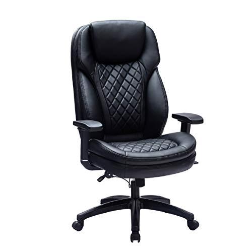 Kasorix Ergonomischer Chefsessel mit Einstellbare Kopfstütze Armlehnen Bürostuhl schreibtischstuhl mit Wippfunktion Computerstuhl bis zu 250 KGS arretierbarer Neigungswinkel bis 120°(schwarz-9107)