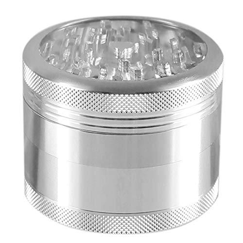 Heisenberg Big One - Aluminium Grinder, Crusher & Kräutermühle mit Deckel, Magnet & Fenster - 25 Zähne - 4 teilig - Ø 5cm - 6cm hoch - Gewürzmühle für Tabak, Kräuter, Pollen - Silber